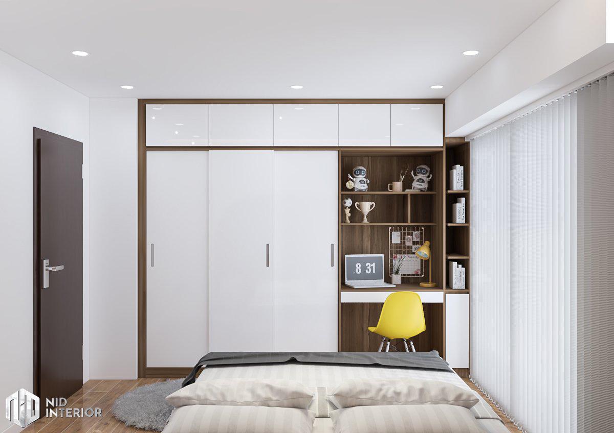 Cải tạo nội thất căn hộ chung cư 2 phòng ngủ - Tủ quần áo và bàn làm việc