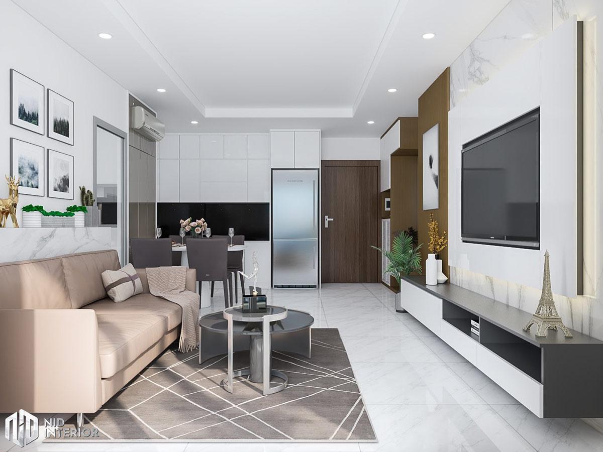 Thiết kế nội thất căn hộ Conic Riverside 66m2 - Phòng khách