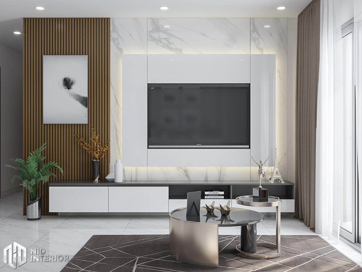 Thiết kế nội thất căn hộ Conic Riverside 66m2 - Kệ tủ tivi