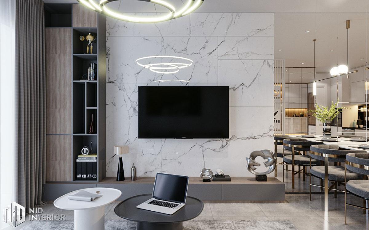 Thiết kế nội thất căn hộ De Capella 50m2 - Kệ tivi