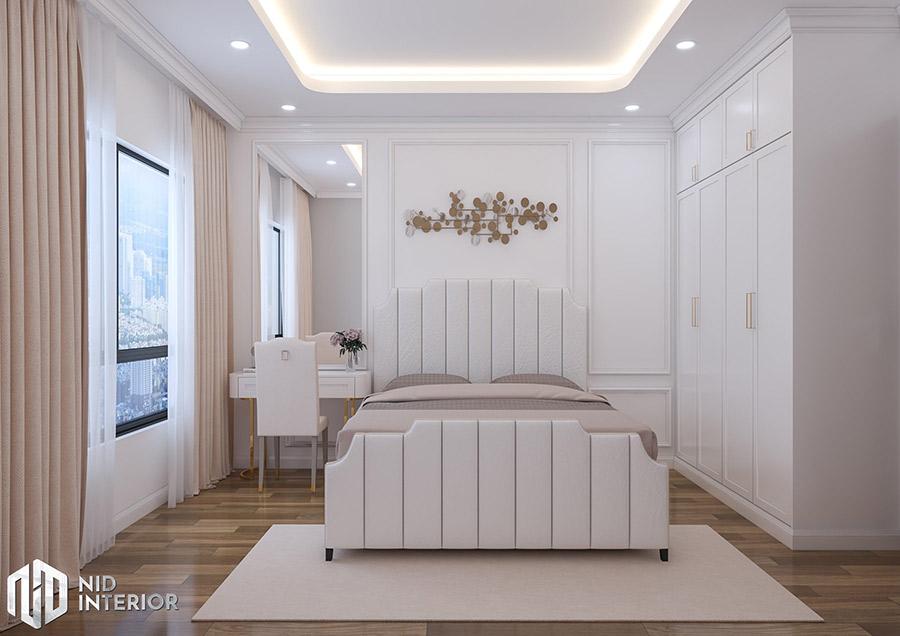 Phòng ngủ master trang trí nhẹ nhàng, không gian thoải mái