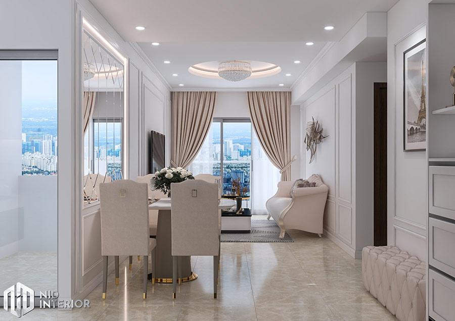 Phong cách Tân Cổ Điển sang trọng với điểm nhấn mảng tường và những đồ nội thất