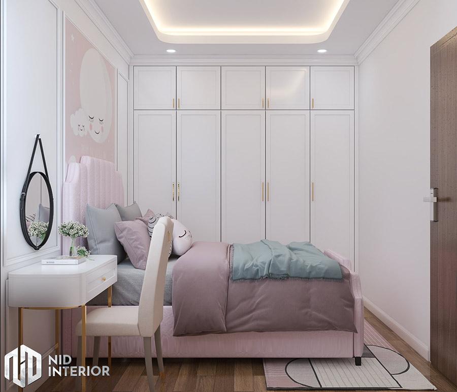 Phòng ngủ nhỏ với màu hồng siêu dễ thương