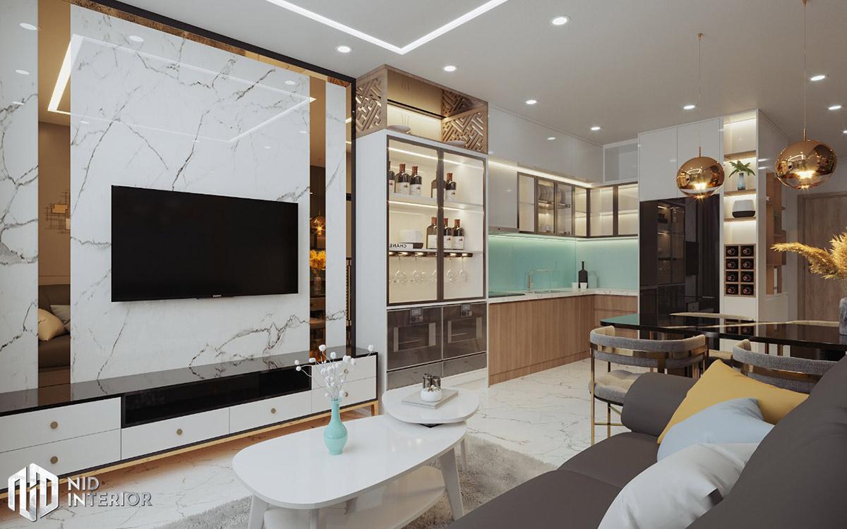 Thiết kế nội thất căn hộ Centum Wealth 68m2 - Phòng khách