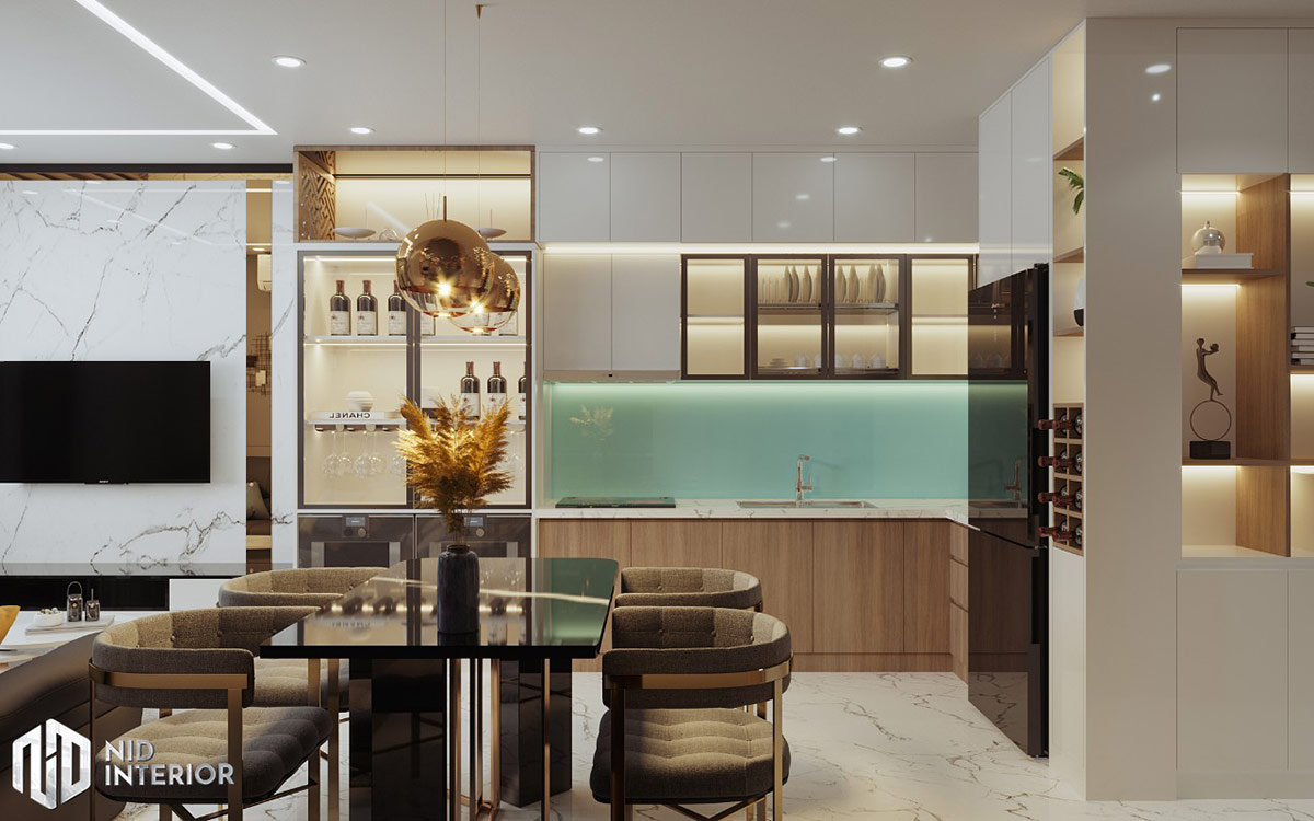 Thiết kế nội thất căn hộ Centum Wealth 68m2 - Khu bếp, bàn ăn