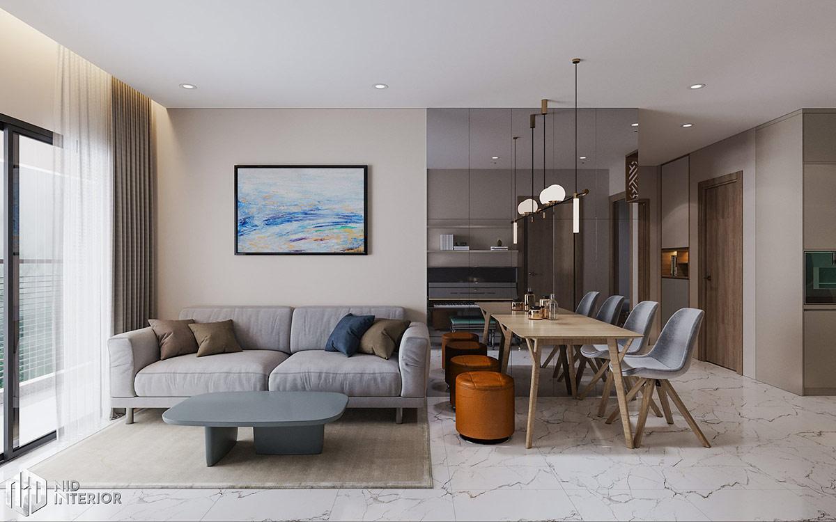 Thiết kế nội thất căn hộ Centum Wealth 94m2 - Sofa & bàn ăn