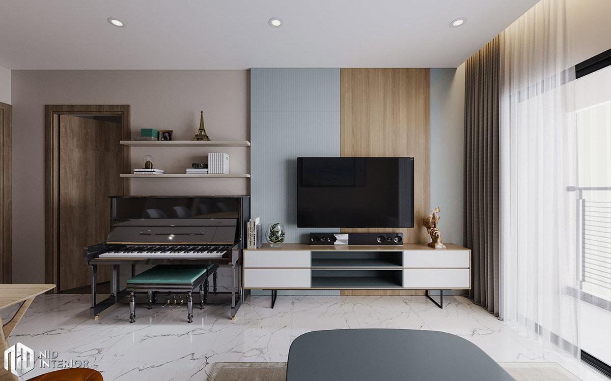 Thiết kế nội thất căn hộ Centum Wealth 94m2 - Tủ Tivi