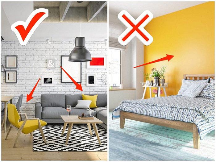Thay vì sơn một bức tường vàng tươi chói mắt, bạn có thể chọn vàng làm màu nhấn trên gối tựa, ghế,...