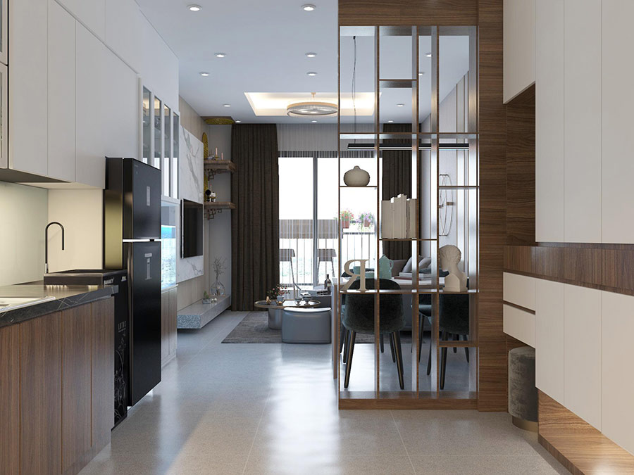 Lam gỗ trang trí làm vách ngăn phòng khách và bếp