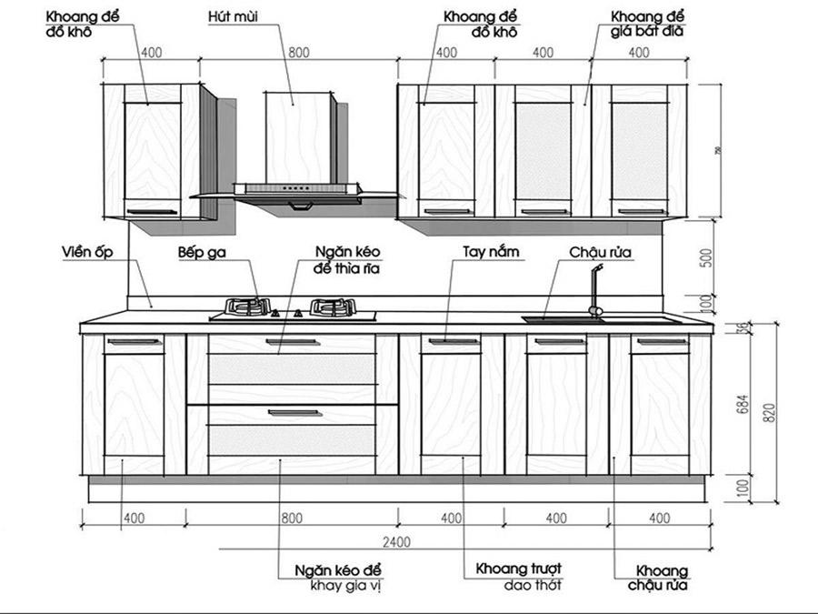 Kích thước tủ bếp trên - hình 1