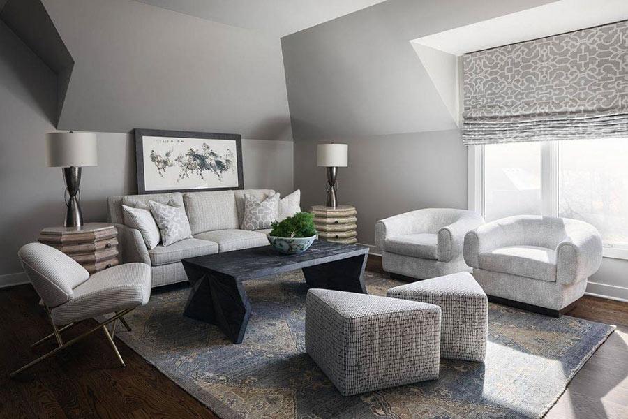 Phòng khách hiện đại đơn sắc màu xám.