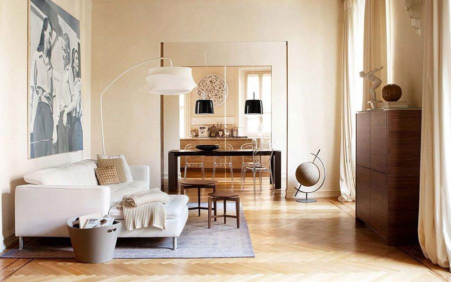 Họa tiết chevron tạo thêm nét đặc trưng cho không gian phòng khách với gam màu trắng.