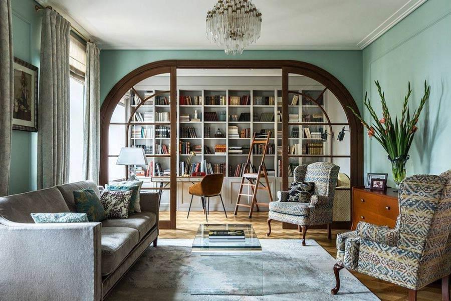 Phòng khách hiện đại, hợp thời trang với tông màu xanh pastel.
