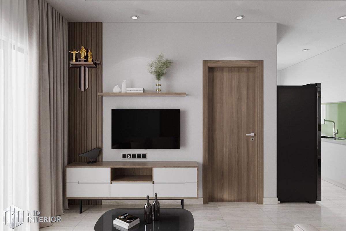 Thiết kế nội thất căn hộ Lavita Charm 67m2 - Tủ tivi