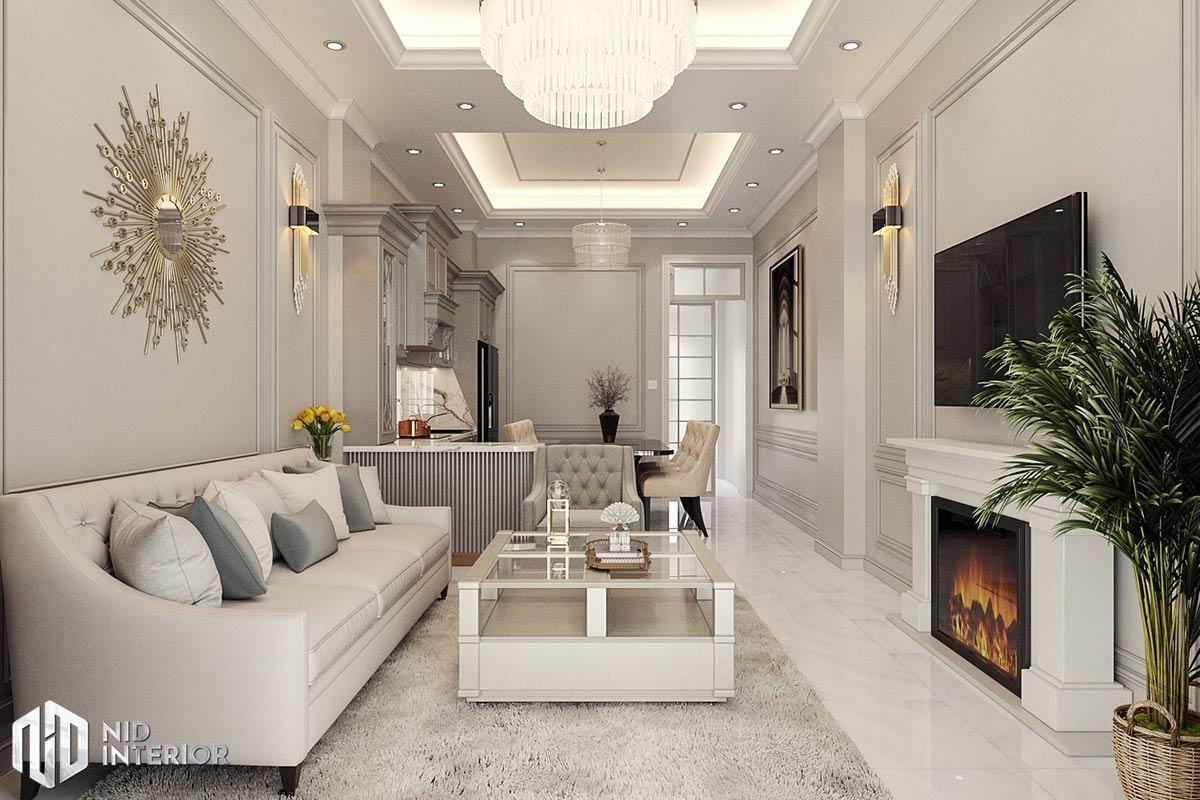 Nhà phố Long An Tân Cổ Điển - Phòng khách