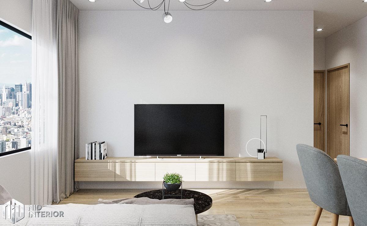 Thiết kế nội thất căn hộ Flora Novia 56m2 - Tủ tivi